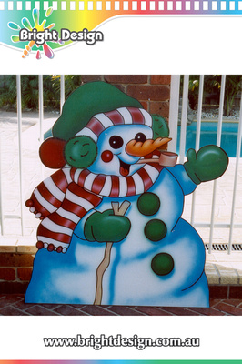 6-15 SM-03 WMPW Waving Snowman Custome Airbrushed Outdoor Christmas Display