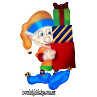 4- E-06 Stack of Presents Elf Outdoor Christmas Decoration for Your Christmas Display at home or shop